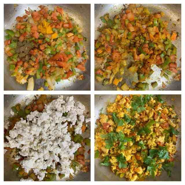 step to add crumbled tofu and cook collage