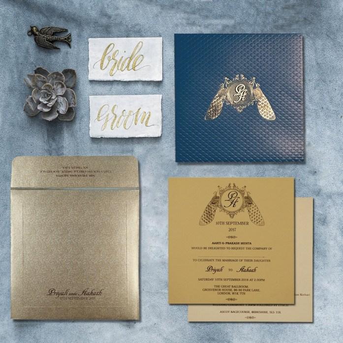 Peacock themed wedding invitations-CD-1714
