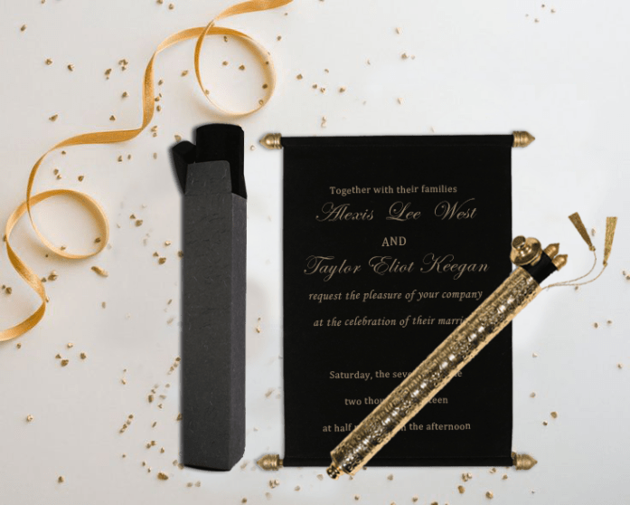 Black scroll wedding invitations CSC-5006H