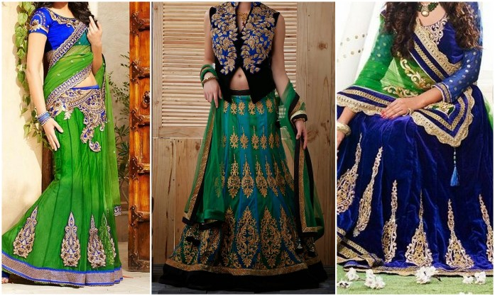 Mint Blue Green Lehengas - IndianWeddingCards