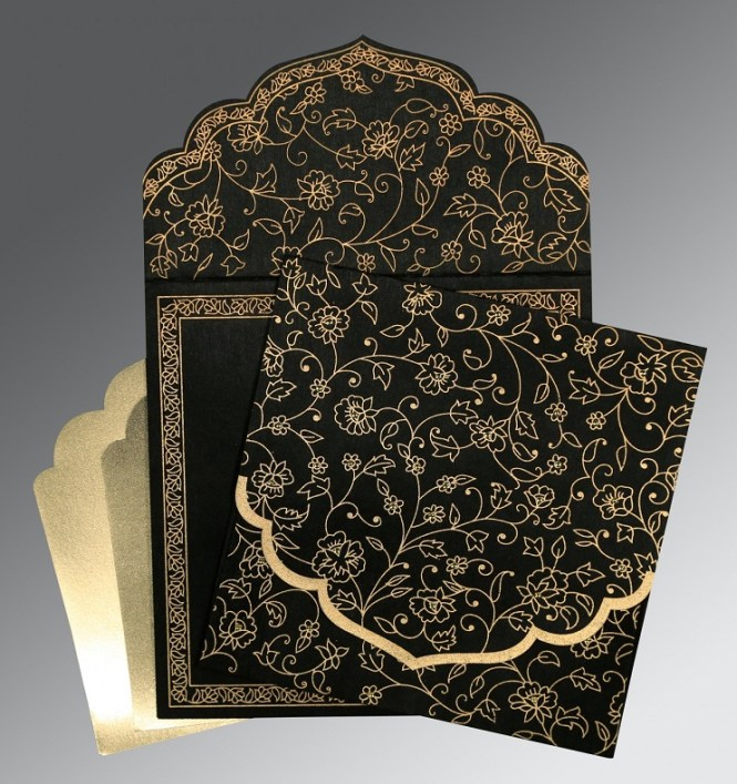 High Cl Black Vingtage Wedding Invitation Cards Flower Laser Cut Custom Printing Envelopes Bridal Shower