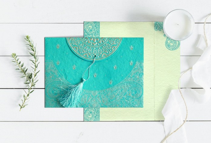 Turquoise muslim wedding cards-CD-8234K