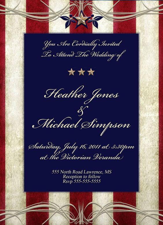 USA Patriotic Theme Wedding Invitations