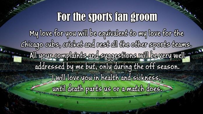 For the sports fan groom