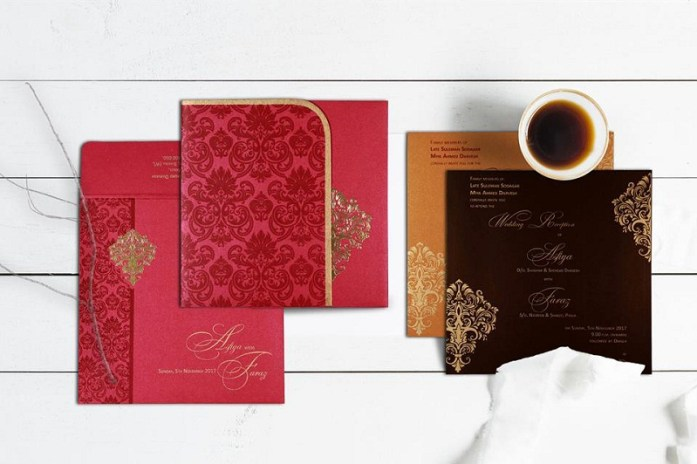 Pink Hindu wedding invitations cards