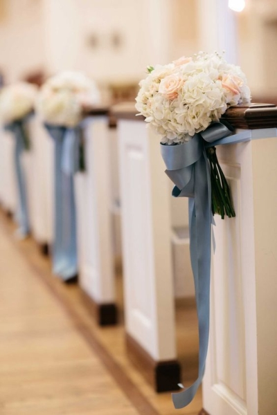 Bouquet of ivory hydrangeas and blush roses with blue ribbons - Aisle Decoration Ideas