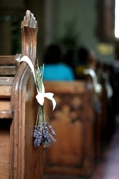 Shabby mauve chic touches on the church pews - Aisle Decoration Ideas