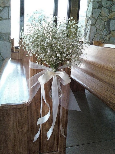 flowers with satin ribbons - Aisle Decoration Ideas