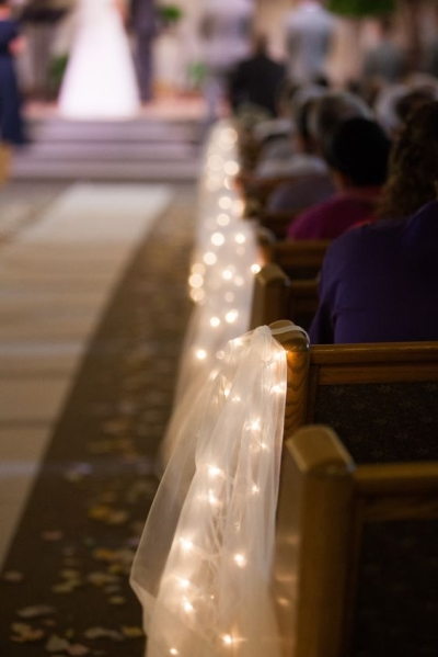 tulle and string lights - Aisle Decoration Ideas