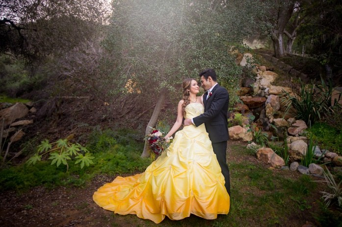 Disney-inspired yellow-ombre wedding gown-IndianWeddingCards
