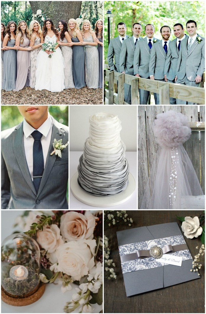 Silver and dove grey wedding pallete
