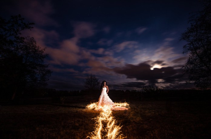 wedding portraits magical with sparklers 3
