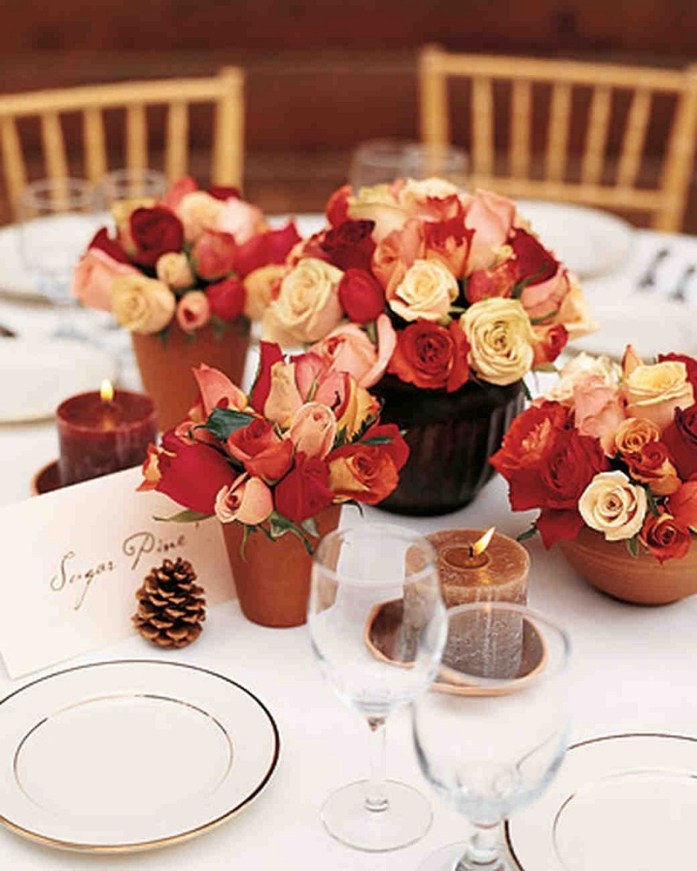 red wedding table centerpiece