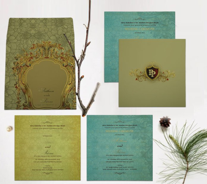 BLACK MATTE BOX THEMED - FOIL STAMPED WEDDING INVITATION CD-1836