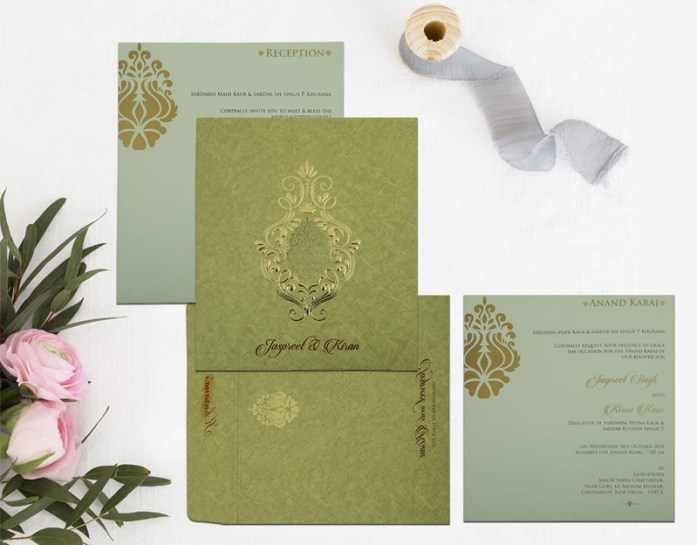 KHAKI MATTE FOIL STAMPED INVITES CD-1813
