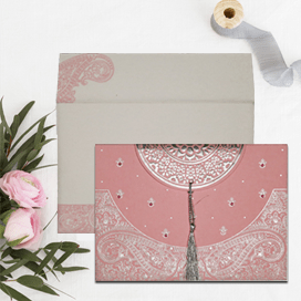 PINK HANDMADE COTTON EMBOSSED WEDDING CARD : CD-8234G