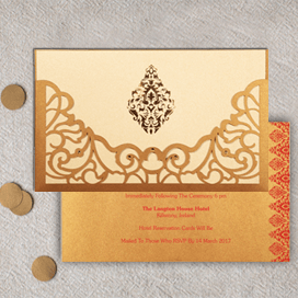 SHIMMERY DAMASK THEMED - LASER CUT WEDDING CARD : CIN-8262D