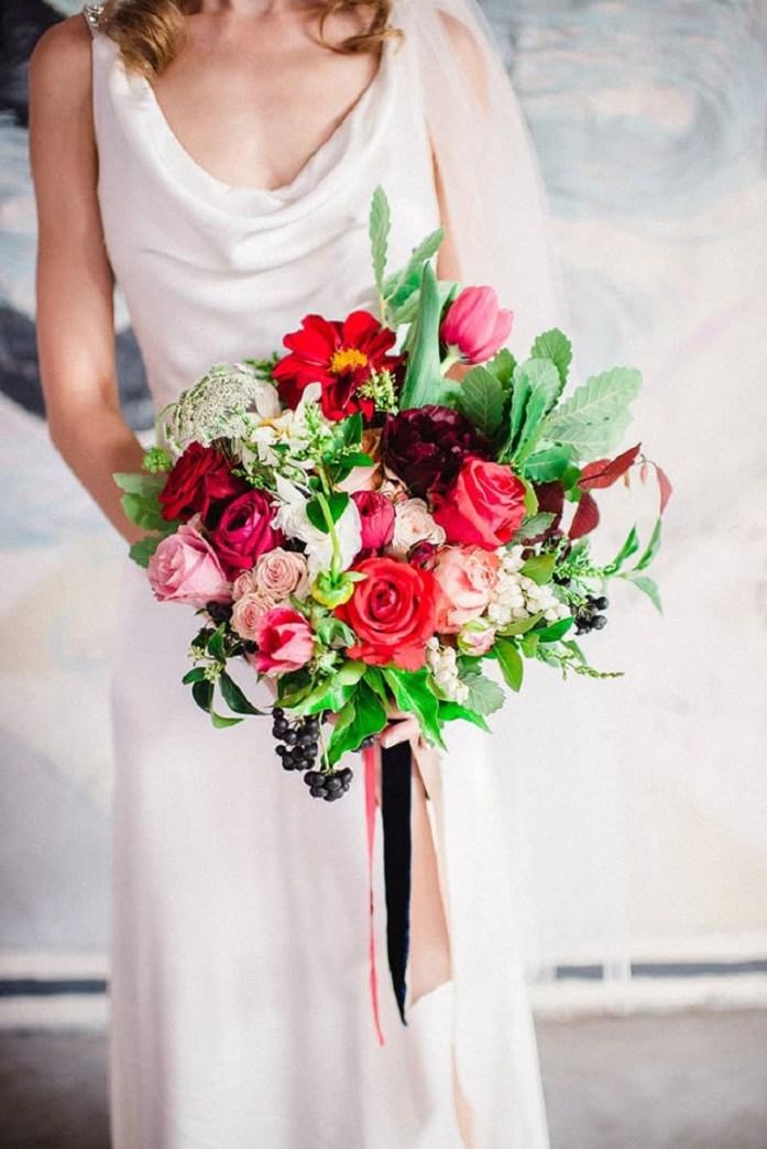 red wedding bridal bouquet