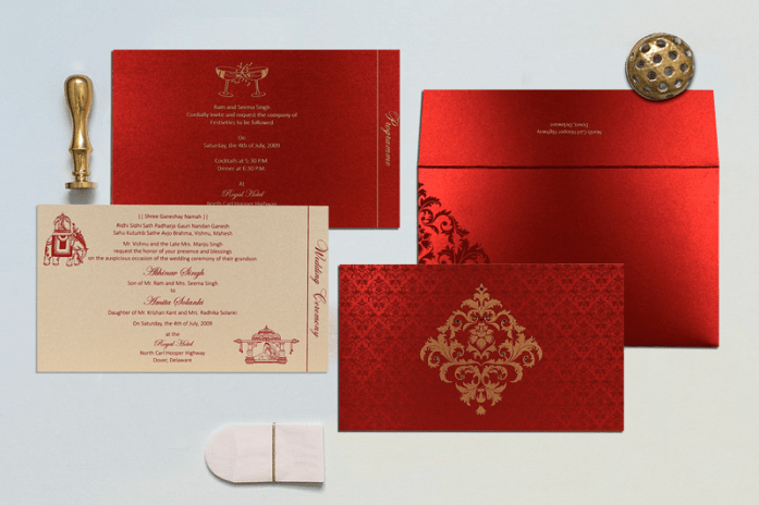 Red Indian Wedding Cards CIN-8257H