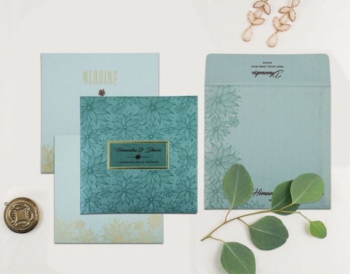 TURQUOISE SHIMMERY FLORAL THEMED - EMBOSSED WEDDING INVITATION CW-1803