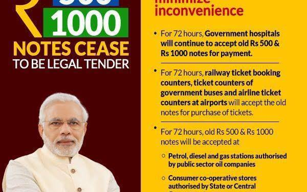 Rs. 500 and Rs. 1000 notes cease to be legal tender from midnight of 8 November 2016