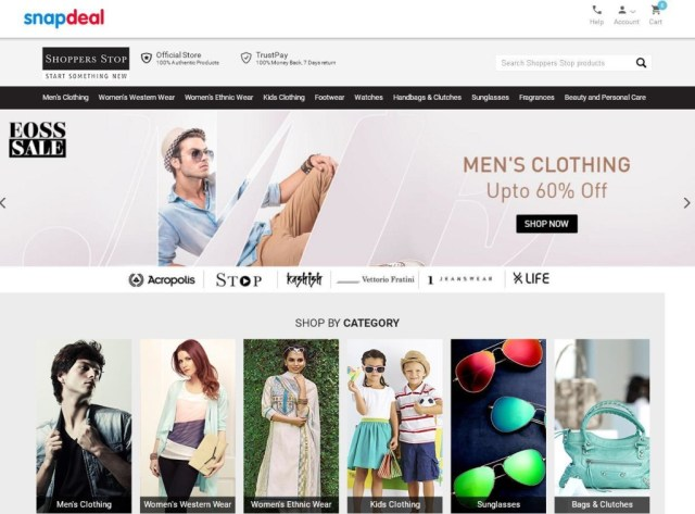 Shoppers Stop microsite with Snapdeal