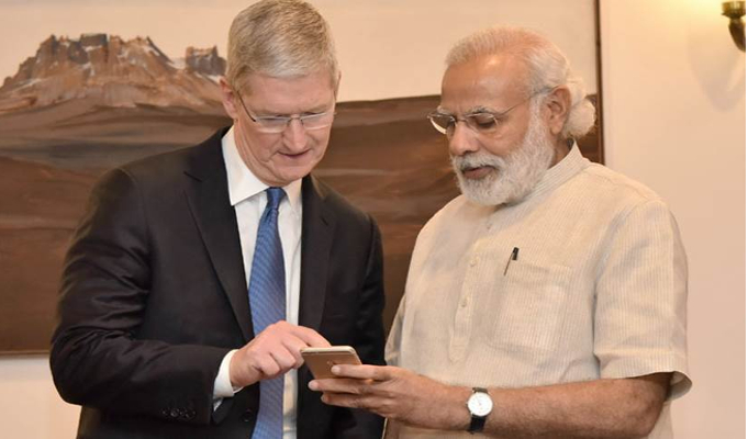 Tim Cook discusses manufacturing and retail possibilities with PM Narendra Modi