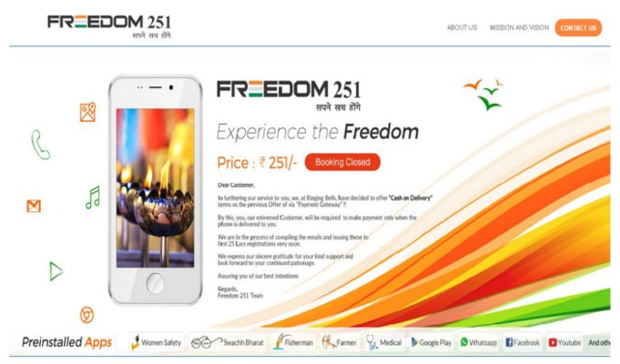 Ringing Bells to deliver 65,000 more 'Freedom 251' smartphones