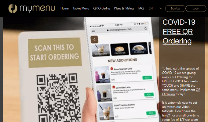 Digital menu company 'My Menu' gives away QR ordering to contain the spread of COVID-19
