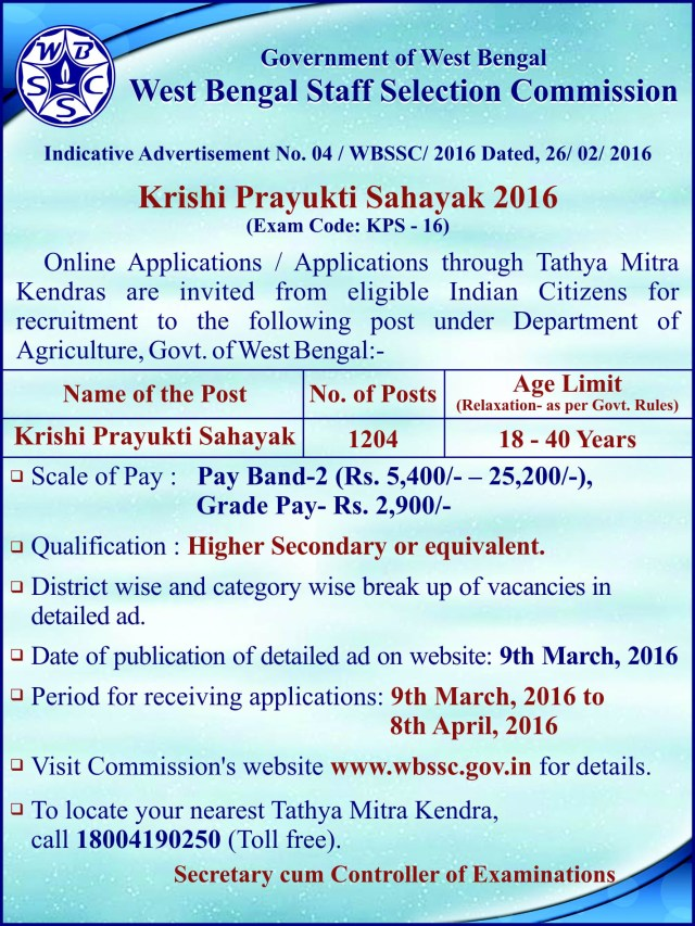 Krishi Prayukti Sahayak (KPS) Indicative Advertisement by WBSSC