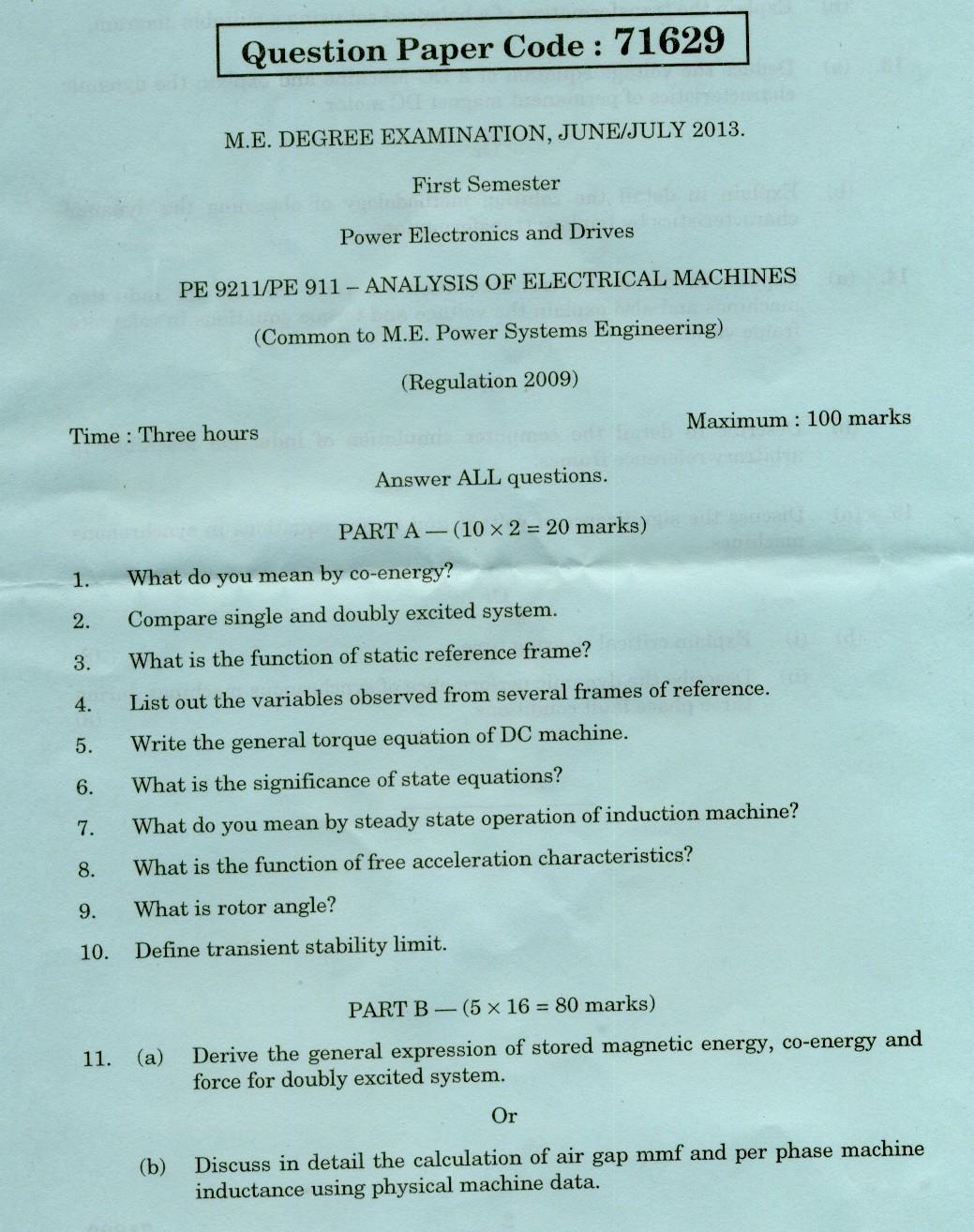 Anna University Chennai Pe Pe 911ysis Of Electrical Machines June July Anna