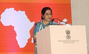 The Union Minister for External Affairs and Overseas Indian Affairs, Smt. Sushma Swaraj delivering the valedictory address at the concluding session of the 4th India-Africa Hydrocarbons Conference, in New Delhi on January 22, 2016.