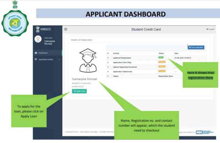 student credit card apply online west bengal