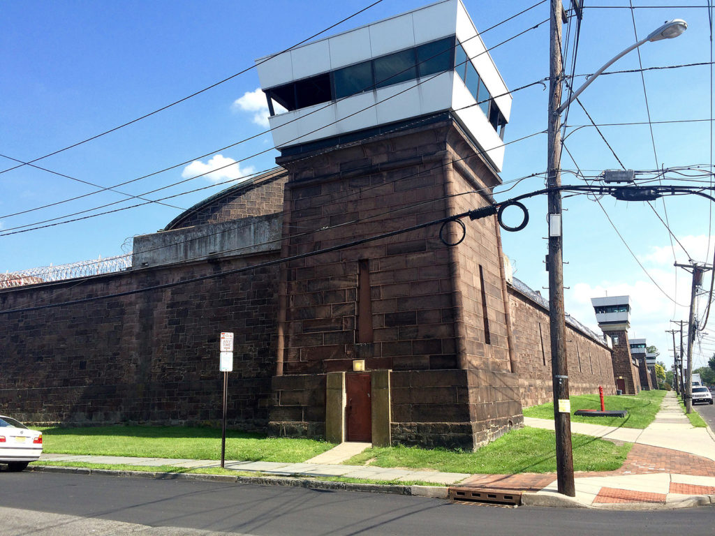 """The 1832 """"Fortress"""" portion, with modern towers, of the New Jersey State Prison (formerly Trenton State Prison) in Trenton, New Jersey."""