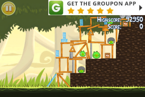 In game advertising on Angry Birds