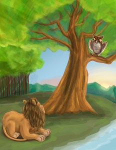 Taking Lion and Owl Image
