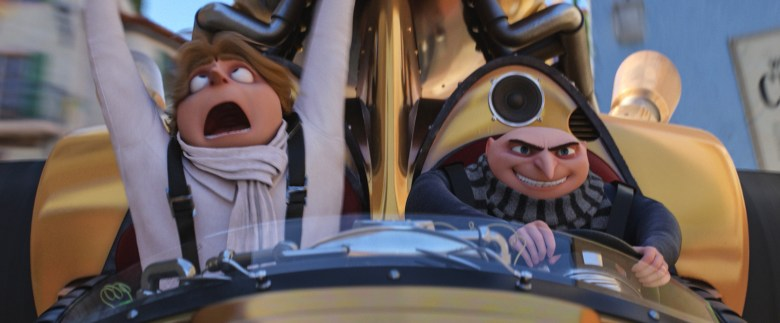"""(L to R) Dru (STEVE CARELL) and Gru (STEVE CARELL) in """"Despicable Me 3."""" Illumination, who brought moviegoers """"Despicable Me"""" and the biggest animated hits of 2013 and 2015, """"Despicable Me 2"""" and """"Minions,"""" continues the story of Gru, Lucy, their adorable daughters—Margo, Edith and Agnes—and the Minions as one former super-villain rediscovers just how good it feels to be bad."""