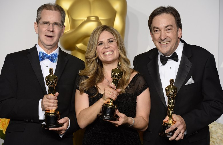 Filmmakers Chris Buck Jennifer Lee Peter Del Vecho Frozen Academy Awards