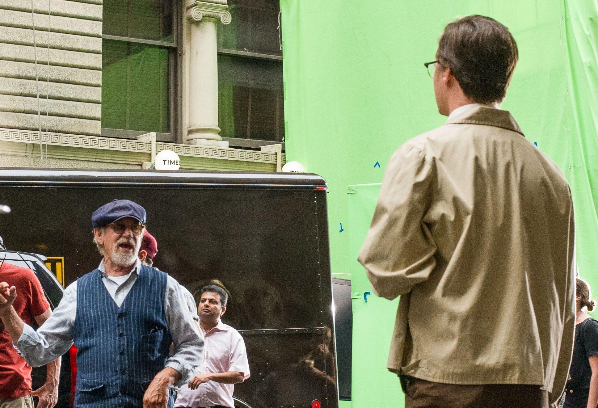 Steven Spielberg, Luke Slattery'The Papers' on set filming, New York, USA - 11 Jul 2017