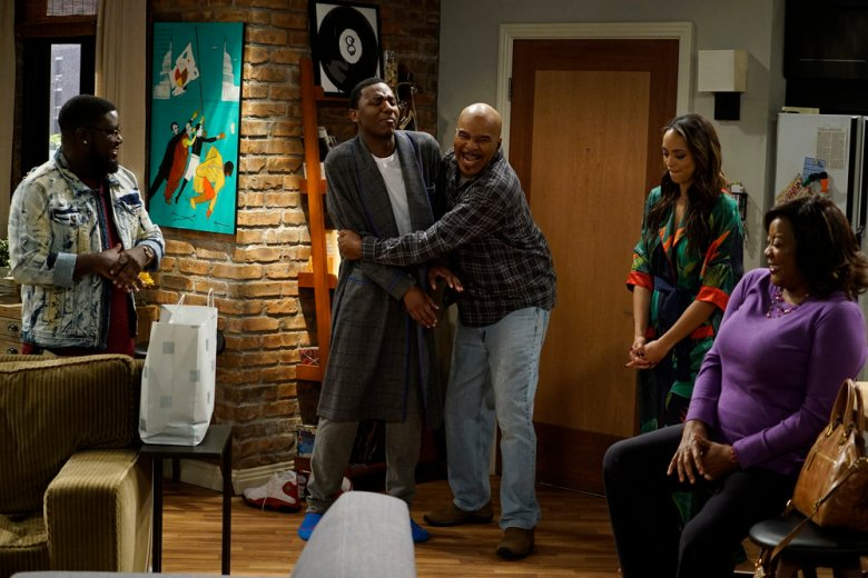 "THE CARMICHAEL SHOW -- ""Three Year Anniversary"" Episode 309 -- Pictured: (l-r) Lil'Rel Howery as Bobby Carmichael, Jerrod Carmichael as Jerrod Carmichael, David Alan Grier as Joe Carmichael, Amber Stevens West as Maxine North, Loretta Devine as Cynthia Carmichael -- (Photo by: Chris Haston/NBC)"