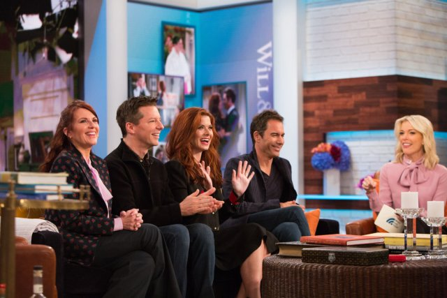 TODAY -- Pictured: The cast of Will & Grace: Megan Mullally, Sean Hayes, Debra Messing, Eric McCormack talk with Megyn Kelly on Monday, September 25, 2017 -- (Photo by: Nathan Congleton/NBC)