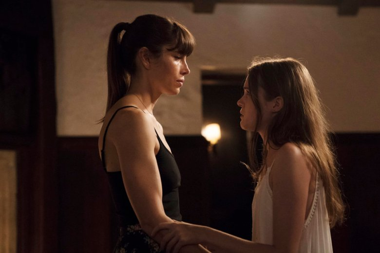 "THE SINNER -- ""Part VII"" Episode 107 -- Pictured: (l-r) Jessica Biel as Cora Tannetti, Nadia Alexander as Phoebe -- (Photo by: Peter Kramer/USA Network)"