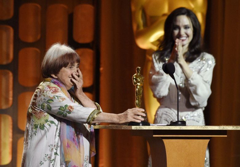 Agnes Varda, Angelina Jolie. French director Agnes Varda, left, reacts to receiving an honorary Oscar as presenter Angelina Jolie looks on at the 2017 Governors Awards at The Ray Dolby Ballroom, in Los Angeles2017 Governors Awards - Show, Los Angeles, USA - 11 Nov 2017