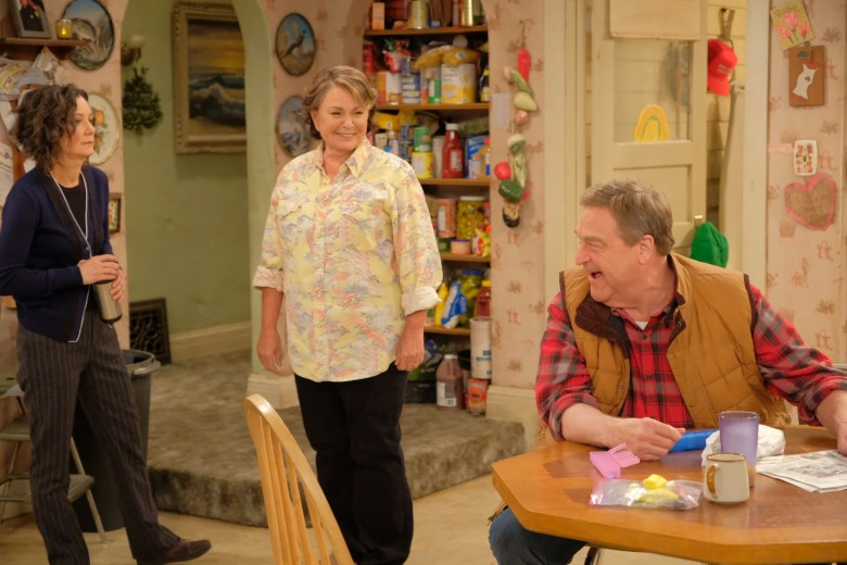 ROSEANNE - Iconic comedy series ÒRoseanneÓ returns to The ABC Television Network on Tuesday, March 27, at 8 p.m. EDT, with nine new episodes featuring the complete original cast - Roseanne Barr, John Goodman, Sara Gilbert, Laurie Metcalf, Michael Fishman and Lecy Goranson. Sarah Chalke, who played the character Becky in later seasons, will also appear in another role. New cast joining the one-of-a-kind Conner family includes Emma Kenney as Harris Conner-Healy, Ames McNamara as Mark Conner-Healy and Jayden Rey as Mary Conner. With fresh stories that tackle todayÕs issues and even more laughs from a brilliant cast and crew that havenÕt missed a beat, audiences old and new will celebrate the homecoming of AmericaÕs favorite working-class family. (ABC/Adam Rose)SARA GILBERT, ROSEANE BARR, JOHN GOODMAN