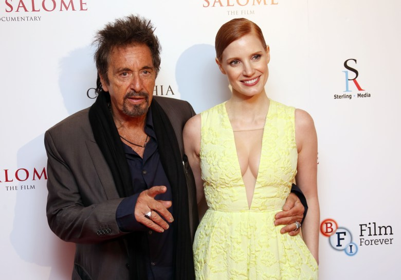 Al Pacino and Jessica Chastain arrive for the Salome and Wild Salome UK Premiere at the BFI southbank in central London, . Salome and Wild Salome, based on Oscar Wilde's play, was presented together followed by a Q&A with Al Pacino and Jessica Chastain hosted by Stephen Fry, and broadcasted live to cinemas around the countryBritain Salome and Wild Salome UK Premiere, London, United Kingdom - 21 Sep 2014