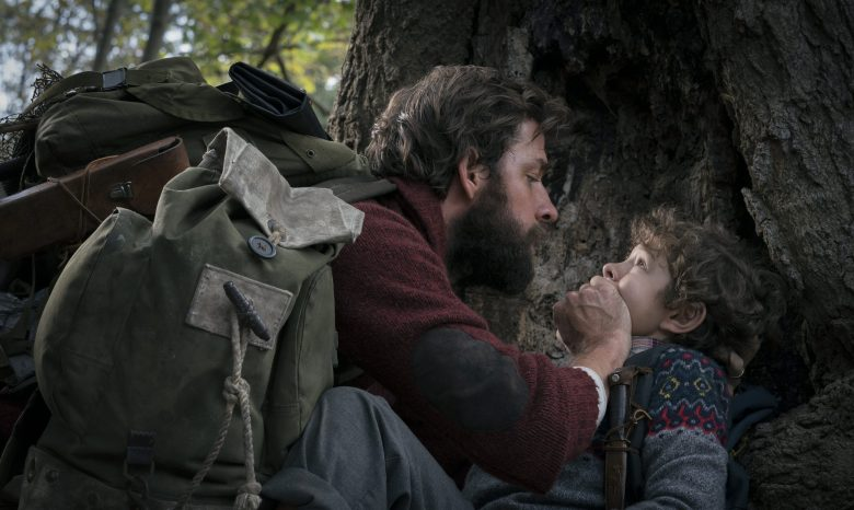 Left to right: John Krasinski and Noah Jupe in A QUIET PLACE, from Paramount Pictures.