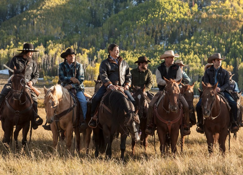 """Yellowstone"" premieres Wednesday, June 20 on Paramount Network. Pictured (l to r): (Pete Sands), Mo (Mo Brings Plenty), Thomas Rainwater (Gil Birmingham), Rip Wheeler (Cole Hauser), John Dutton (Kevin Costner), Jamie Dutton (Wes Bentley)"