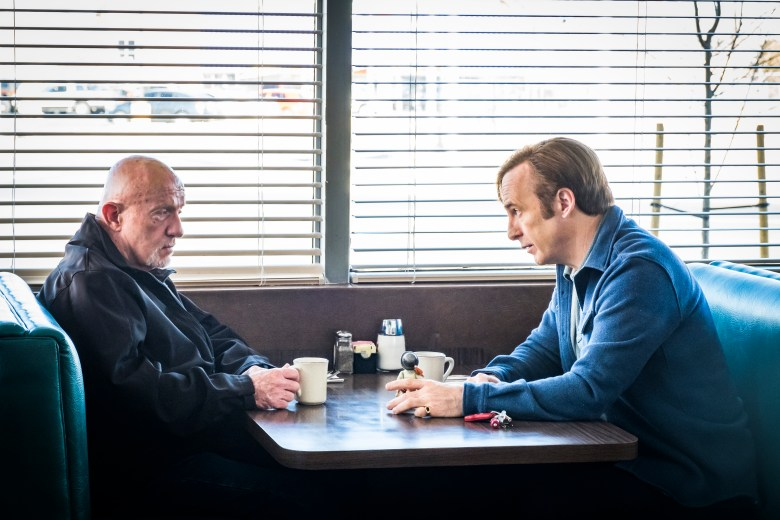 Jonathan Banks as Mike Ehrmantraut, Bob Odenkirk as Jimmy McGill- Better Call Saul _ Season 4, Episode 3 - Photo Credit: Nicole Wilder/AMC/Sony Pictures Television