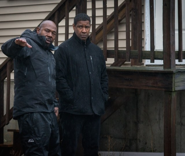 Director Antoine Fuqua Left And Denzel Washington On The Set Of Columbia Pictures