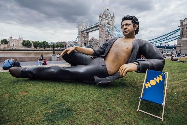 NOW TV Jeff Goldblum statueNOW TV Jeff Goldblum statue photocall, London, UK - 18 Jul 2018